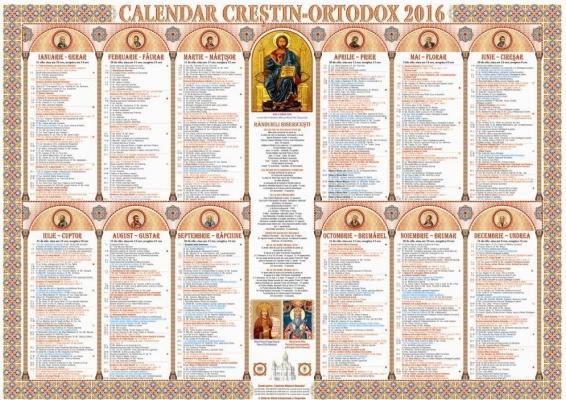 calendar crestin ortodox 2016
