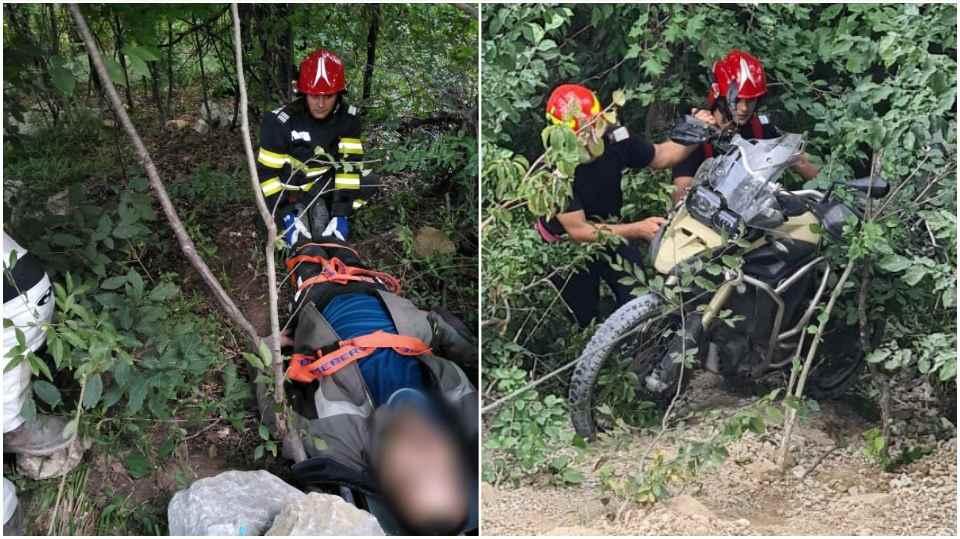 FOTO  ACCIDENT la Aiud: Un motociclist RĂNIT a fost transportat la spital, după ce a CĂZUT într-o RÂPĂ de aproape 10 metri